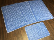 ROMANY WASHABLES NEW GYPSY SET OF 4PCS LIGHT BLUE MATS NON SLIP TOURER SIZE RUGS